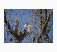 Great Blue Heron Very High in the Trees One Piece - Short Sleeve
