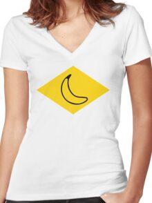 yellow banana Women's Fitted V-Neck T-Shirt