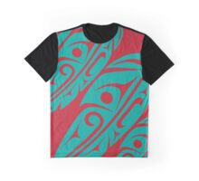 Four Feathers Teal on Red Graphic T-Shirt