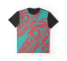 Four Feathers Red on Teal Graphic T-Shirt