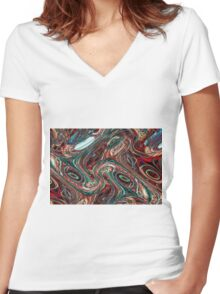 Colorful psychedelic background made of interweaving curved shapes. Illustration Women's Fitted V-Neck T-Shirt