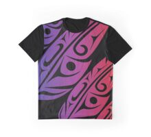 Four Feathers Purple-Red Gradiant on Black Graphic T-Shirt