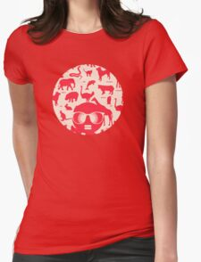Retro animals Womens Fitted T-Shirt