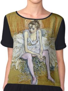Henri De Toulouse Lautrec -  A Seated Dancer With Pink Stockings  Chiffon Top