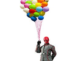 red skull with balloons by sherlokian