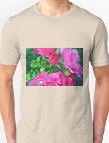 Beautiful gentle pink roses background Unisex T-Shirt