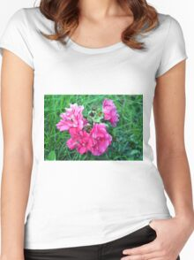 Beautiful gentle pink roses background Women's Fitted Scoop T-Shirt