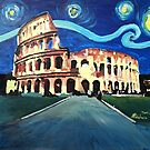 Starry Night over Colloseum in Rome Italy with Van Gogh Inspirations by artshop77