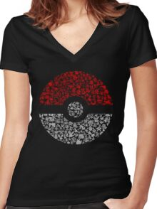 Pokéball Pokémon Women's Fitted V-Neck T-Shirt