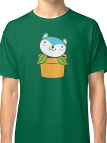 cute little blue husky dog in a pot plant Classic T-Shirt