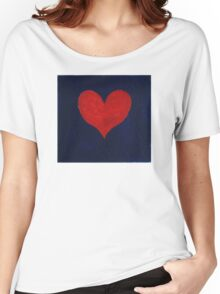 Simple red heart on blue Women's Relaxed Fit T-Shirt