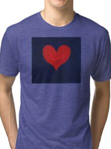 Simple red heart on blue Tri-blend T-Shirt