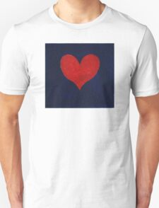 Simple red heart on blue Unisex T-Shirt