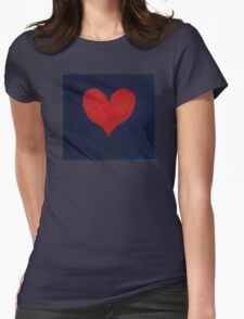 Simple red heart on blue Womens Fitted T-Shirt