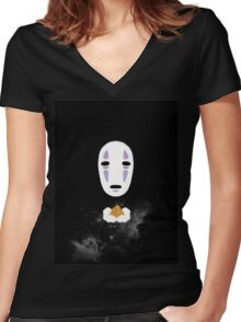 No Face Galaxy Women's Fitted V-Neck T-Shirt