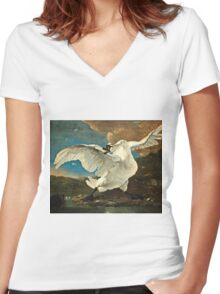 Jan Asselijn - The Threatened Swan (1640 - 1652)  Women's Fitted V-Neck T-Shirt