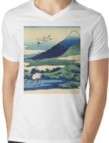 Hokusai Katsushika - Umezawa in Sagami Province Mens V-Neck T-Shirt