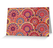 Scales pattern from pink flower mandalas Greeting Card