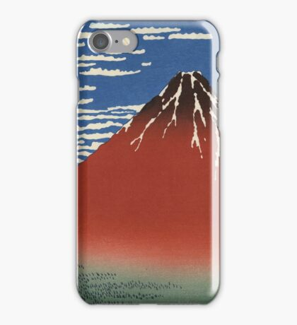Hokusai Katsushika - Red Fuji southern wind clear morning iPhone Case/Skin