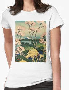 Hokusai Katsushika - Goten-yama-hill, Shinagawa on the Tokaido Womens Fitted T-Shirt