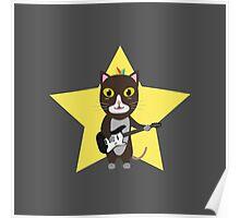 Rock-Music Cat Poster