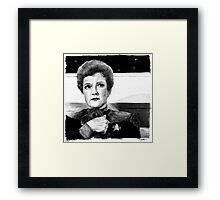 Captain Janeway...AND A PUPPY! Framed Print