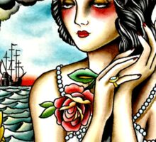Traditional Tattoo Pin up Girl Navy Ship Sticker