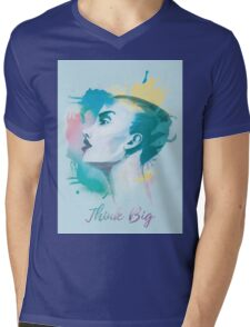 Think big! Hand-painted portrait of a woman in watercolor. Mens V-Neck T-Shirt