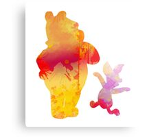 Bear and Pig Inspired Silhouette Metal Print