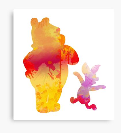 Bear and Pig Inspired Silhouette Canvas Print