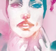 Act like a lady! Hand-painted portrait of a woman in watercolor. Sticker