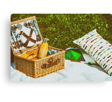 Picnic Basket Food On White Blanket With Pillows In Summer Canvas Print