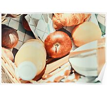 Juice Bottle, Peaches, Apple, Orange And Croissant In Food Picnic Basket Poster