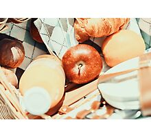 Juice Bottle, Peaches, Apple, Orange And Croissant In Food Picnic Basket Photographic Print
