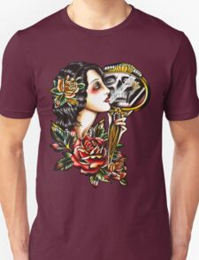 Traditional Girl Tattoo Skeleton Reflection Unisex T-Shirt
