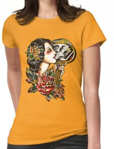 Traditional Girl Tattoo Skeleton Reflection Womens Fitted T-Shirt