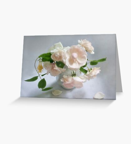 June Roses with Honeysuckle Still Life Greeting Card