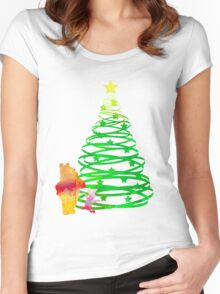Christmas Bear and Pig Inspired Silhouette Women's Fitted Scoop T-Shirt