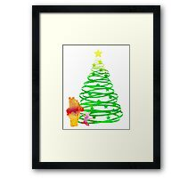Christmas Bear and Pig Inspired Silhouette Framed Print