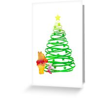Christmas Bear and Pig Inspired Silhouette Greeting Card