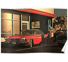 Old-timer Plymouth at a gasstation Poster