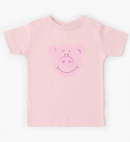 Cute Happy Pig - Aqua Kids Tee