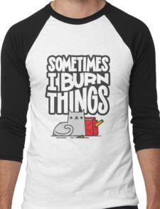 Sometimes I Burn Things Cat Men's Baseball ¾ T-Shirt