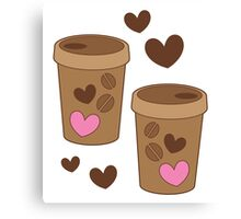 coffee cups love Canvas Print