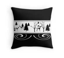 Scary Winter Scenery Throw Pillow