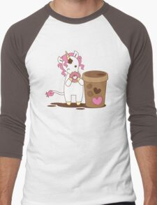 cute unicorn eating a donut with a cup of coffee Men's Baseball ¾ T-Shirt