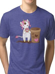 cute unicorn eating a donut with a cup of coffee Tri-blend T-Shirt