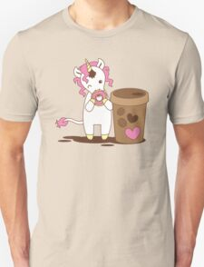 cute unicorn eating a donut with a cup of coffee Unisex T-Shirt
