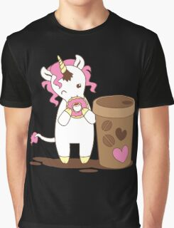 cute unicorn eating a donut with a cup of coffee Graphic T-Shirt