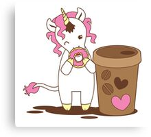cute unicorn eating a donut with a cup of coffee Canvas Print